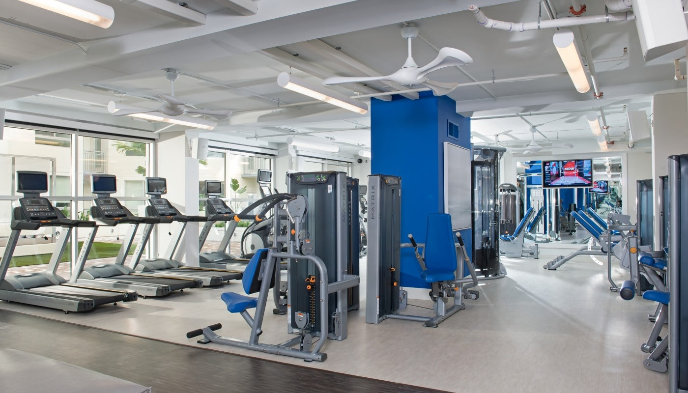 fitness center with cardio equipment, strength training machines, ceiling fans, flat screen tv and large mirrors - jefferson apartment group
