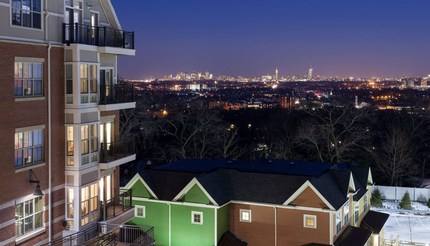 view of the boston skyline from arlington 360 apartment building - jefferson apartment group