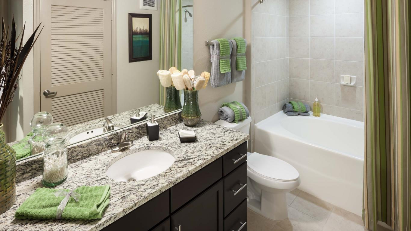 jefferson monterra granite vanity, toilet, bath tub and large mirror - jefferson apartment group
