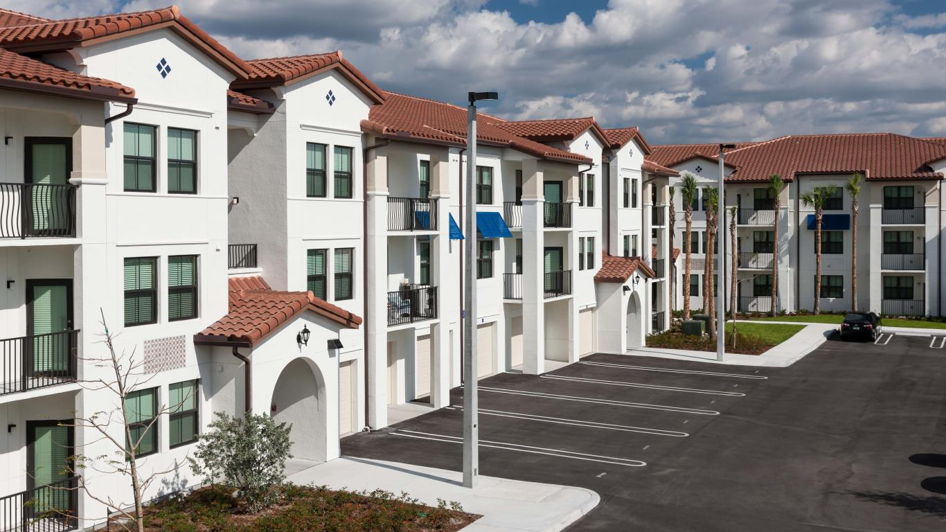 jefferson montera exterior showing 3 story building with parking and some private garages - jefferson apartment group