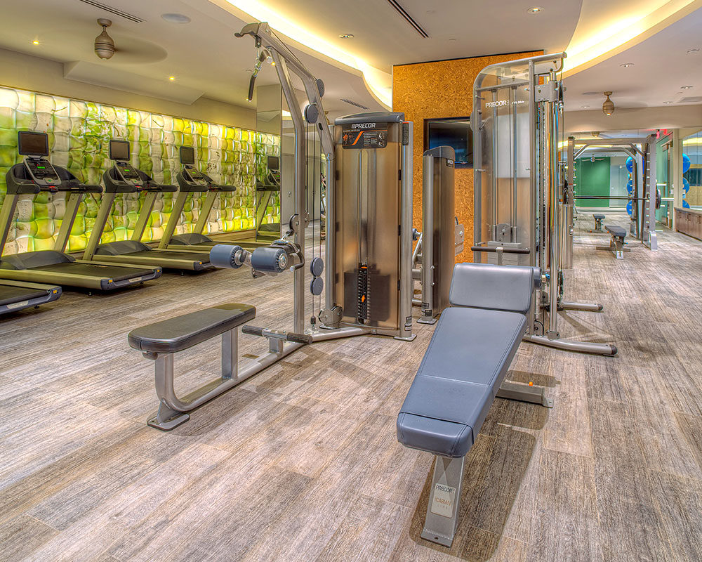 tellus fitness center with strength training equipment and cardio machines - jefferson apartment group
