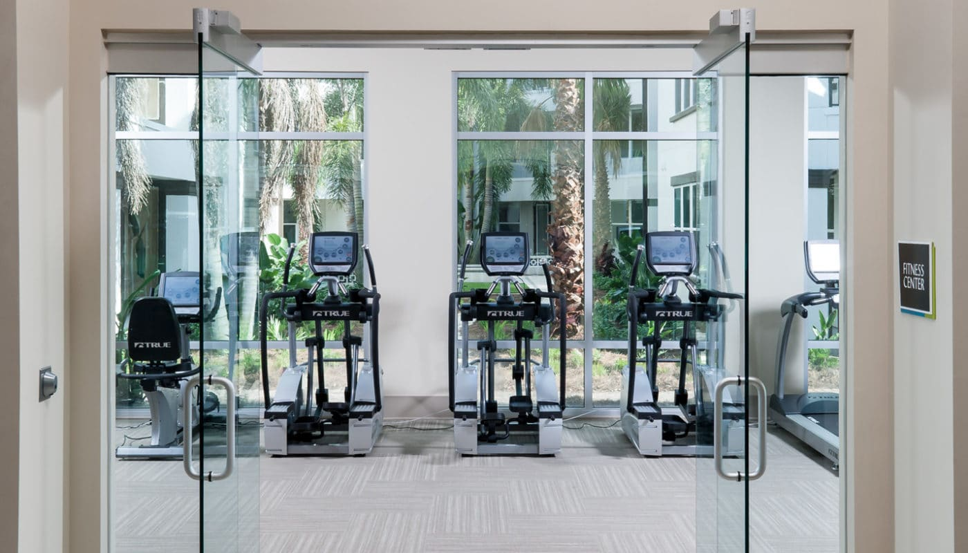 jefferson westshore fitness center with cardio machines, large windows and modern artwork - jefferson apartment group