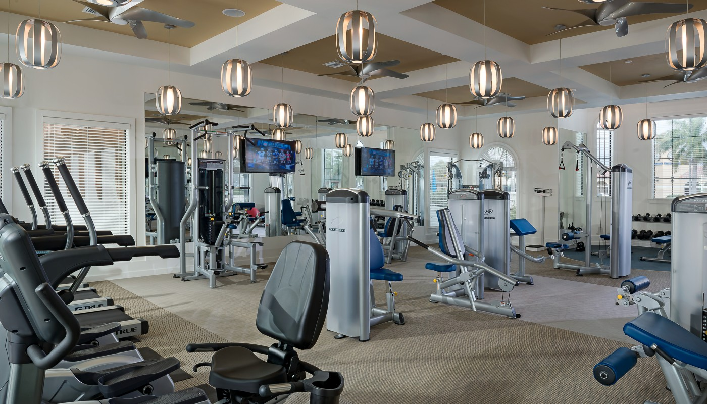 lighthouse point fitness center with flat screen tv, cardio machines, strength training equipment, free weights, modern lighting and windows - jefferson apartment group