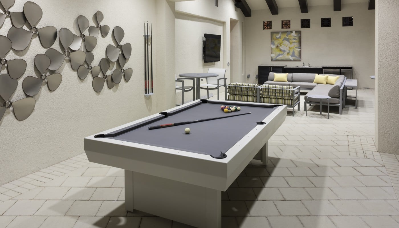 jefferson palm beach club room with billiards, modern artwork, social seating and flat screen tv - jefferson apartment group