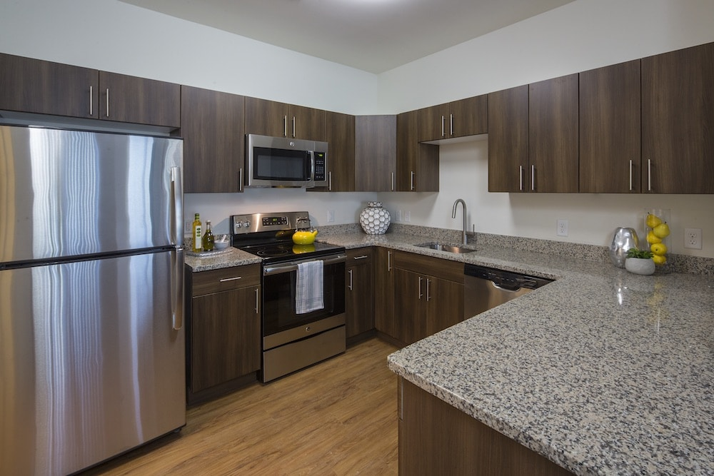 emblem kitchen with granite countertop, stainless steel appliances, plank flooring and dark wood cabinetry - jefferson apartment group