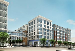 rendering of exterior of j malden center and commercial development - jefferson apartment group