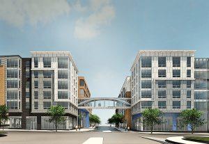 rendering of commercial development located near j malden center - jefferson apartment group
