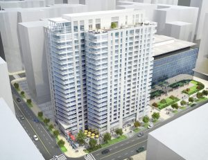 aerial j sol rendering of exterior plaza with trees, social seating, umbrellas and people walking along sidewalk - jefferson apartment group