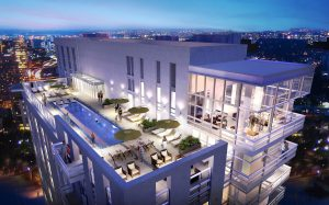 j sol rendering of exterior rooftop pool, chaise lounge chairs, and view of the resident lounge - jefferson apartment group