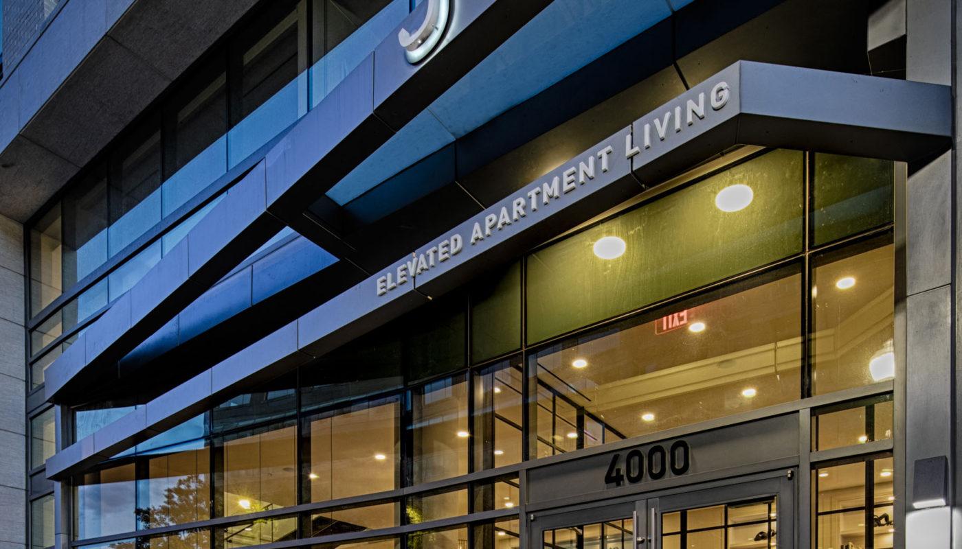 exterior of j sol luxury high rise arlington apartments