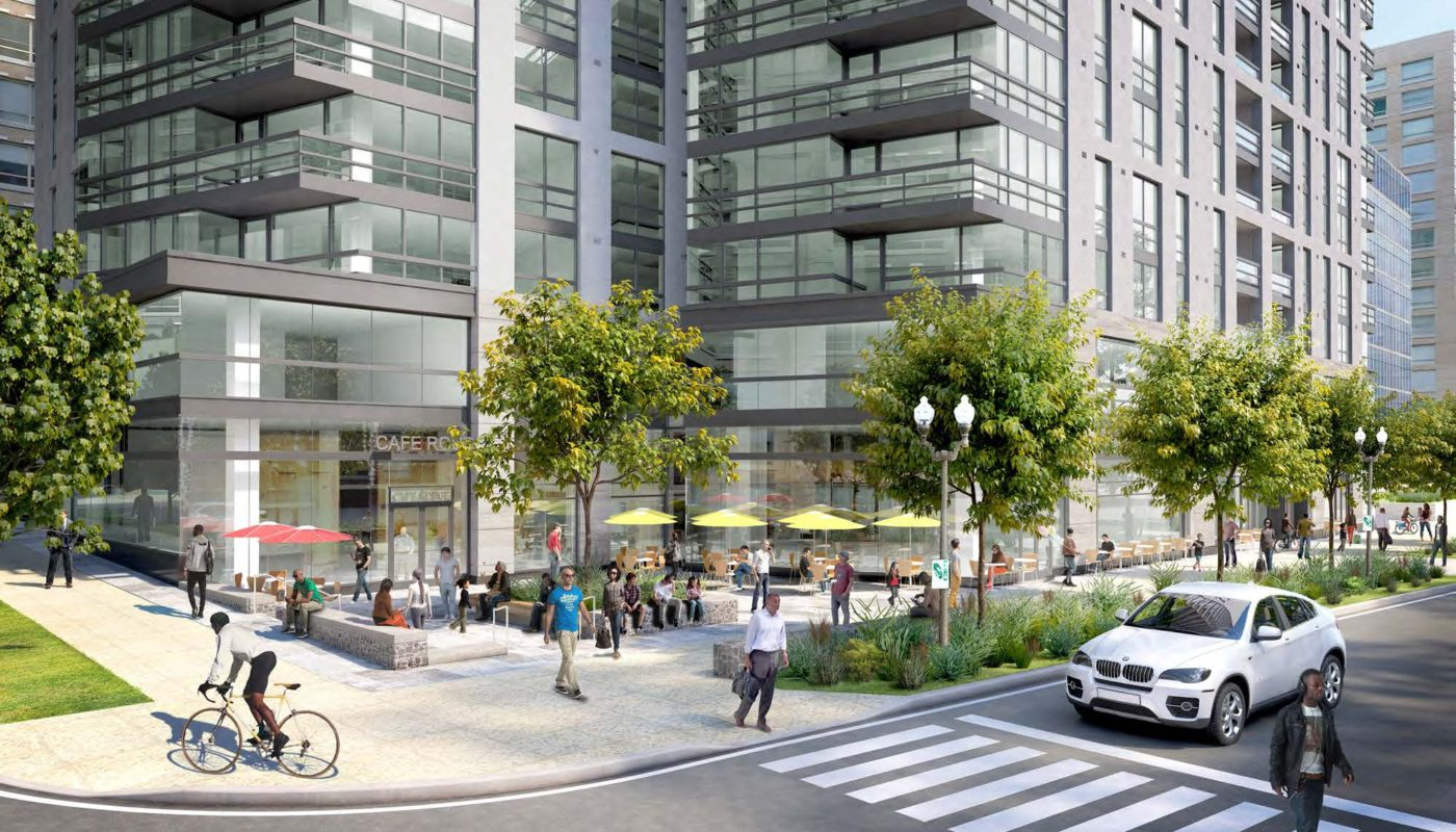 j sol rendering of exterior plaza with trees, social seating, umbrellas and people walking along sidewalk - jefferson apartment group