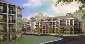 rendering of j creekside exterior with cars and people walking on sidewalk nearby - jefferson apartment group