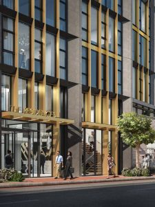 rendering of exterior of j linea high rise apartment building - jefferson apartment group