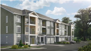 jefferson mount laurel exterior showing three story apartment building with balconies and private garages - jefferson apartment group