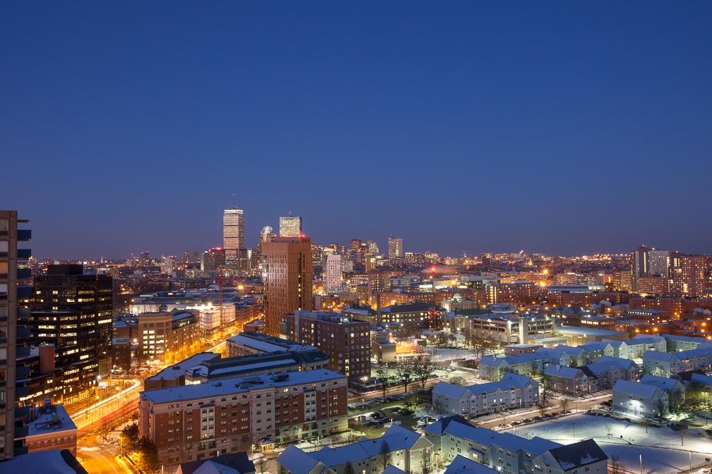 Dusk view of Boston skyline - jefferson apartment group