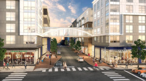 rendering of shops and restaurants located near j malden center - jefferson apartment group