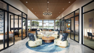 rendering of resident lounge with social seating, cocktail tables and views of other rooms with social seating conference tables and large windows at jefferson sand lake