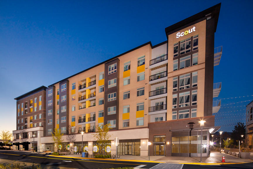 exterior of scout on the circle 6 story luxury apartment building with retail on the ground floor in fairfax va