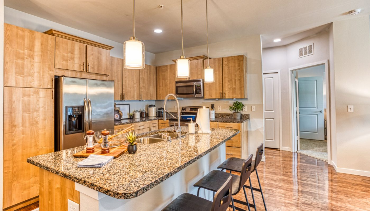 kitchen with granite counters and stainless steel appliances at sea isle luxury orlando apartments