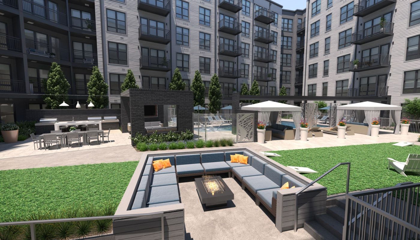 aventon crown courtyard with firepit seating, pool cabanas, and building exterior with balconies