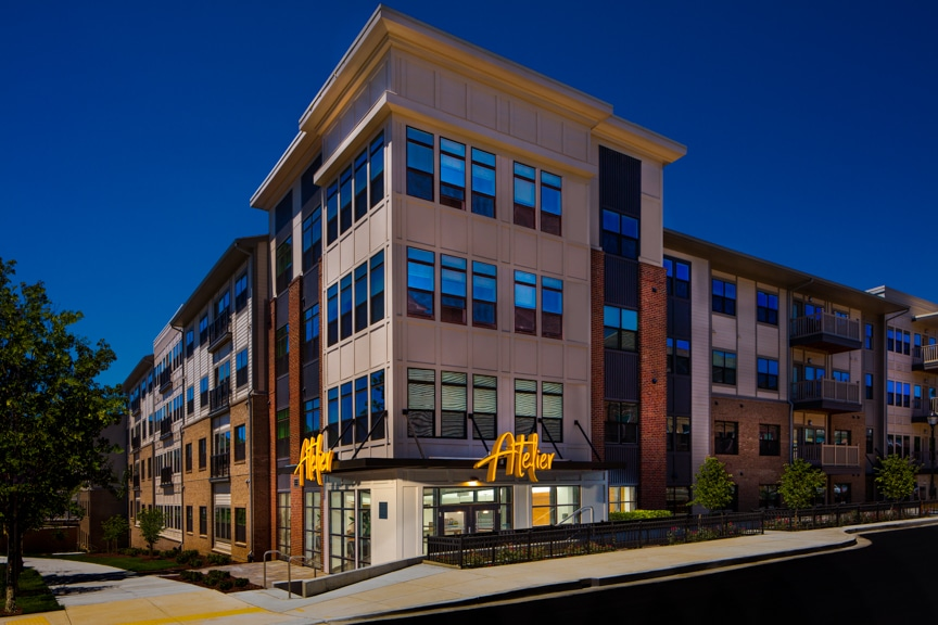 exterior apartment building with balconies at atelier luxury silver spring apartments