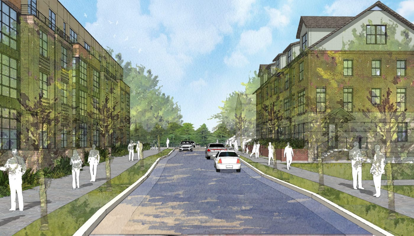 residential street with apartment building and townhomes - jag jefferson apartment group