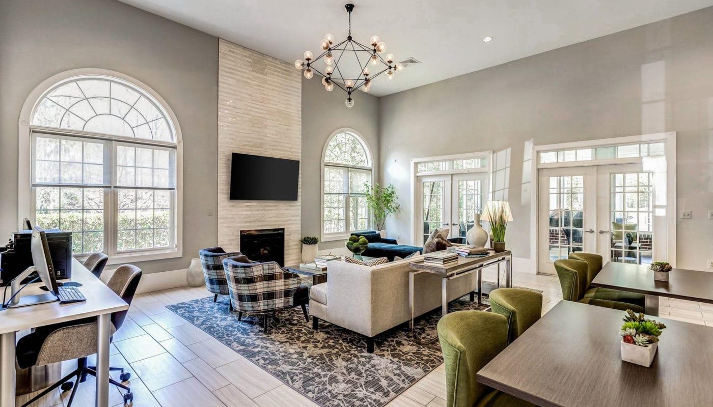 lounge area with fire place - J Harbor Park reston va apartments