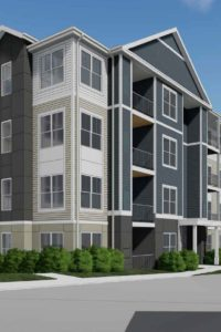 4 story apartment building exterior rendering Clubhouse - J Woburn Heights