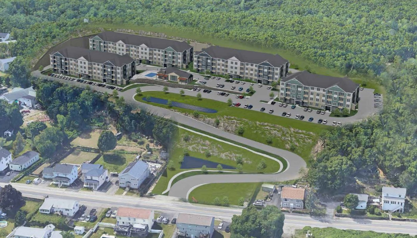 aerial rendering of garden style apartments with trees - J Woburn Heights